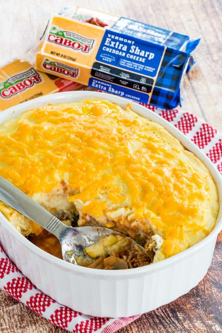 Cheesy Cauliflower Shepherds Pie in a baking dish with Cabot Cheese