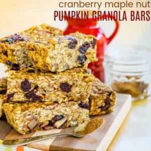 Cranberry Maple Nut Pumpkin Granola Bars