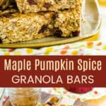 Cranberry Maple Nut Pumpkin Granola Bars Pinterest Collage