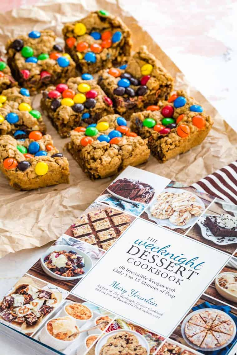 The Weeknight Dessert Cookbook with recipe for Monster Cookie Bars