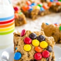 Quick and Easy No Flour Monster Cookie Bar Recipe