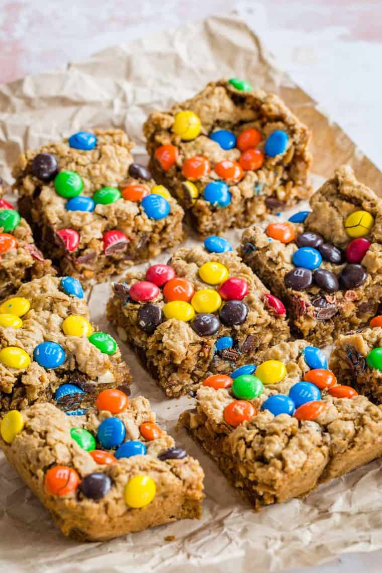One Bowl M&M's Monster Cookie Bars cut into squares