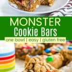 Monster Cookie Bars Pinterest Collage