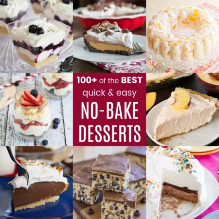 Square collage of no-bake dessert recipes