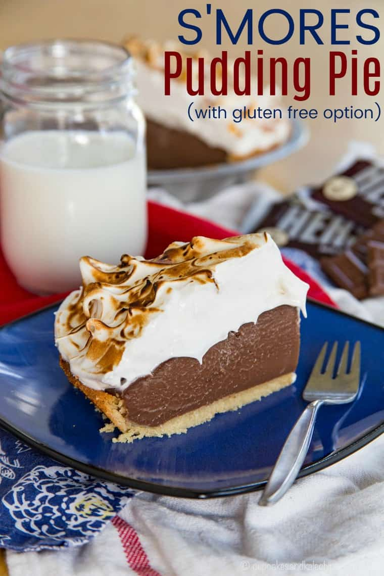 S'Mores Chocolate Pudding Pie Recipe image with title