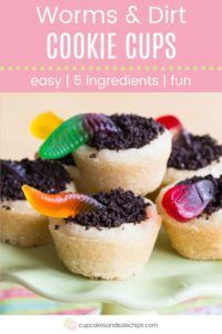 Sugar Cookie Cups with crushed Oreos dirt and gummy worms Pin Template Pink