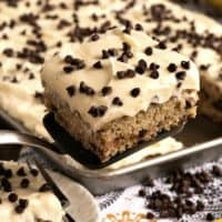 Banana Chocolate Chip Sheet Cake with Cream Cheese Frosting
