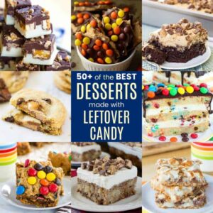 Square collage of dessert recipes for leftover candy