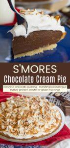 S'Mores Chocolate Cream Pie Pinterest Collage