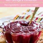 Cinnamon Orange Cranberry Sauce Recipe Pin Template Pink