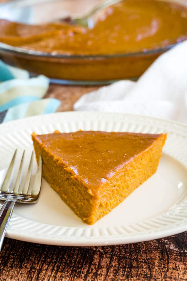 Gluten Free Pumpkin Pie without a crust on a plate