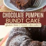 Gluten Free Chocolate Pumpkin Bundt Cake Pinterest Collage
