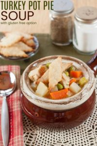 Turkey Soup with Vegetables Topped with Pie Crust Crackers to taste like Pot Pie