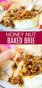 Easy Baked Brie Recipe with Honey Nuts Pinterest Collage