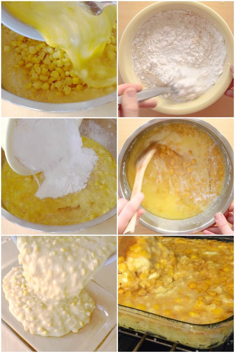 Step by Step Process Shots for How to Make Corn Pudding