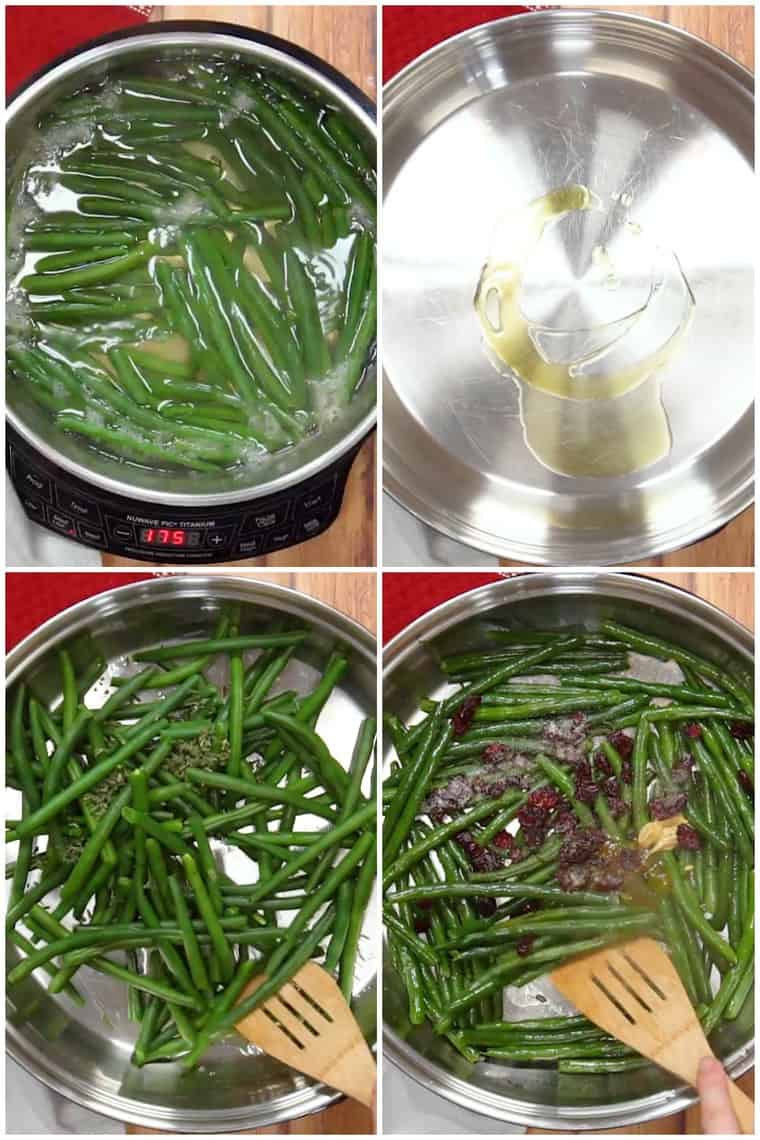 Step By Step Process Shots of how to make Cranberry Orange Green Beans