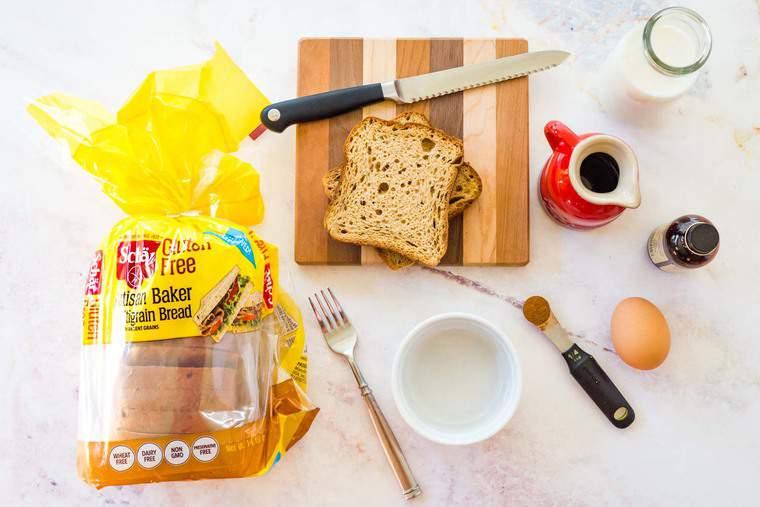 Overhead photo of Schar Glute Free Bread, Milk, Egg, Maple Syrup, Vanilla, and Cinnamon to make a Mini French Toast Casserole recipe