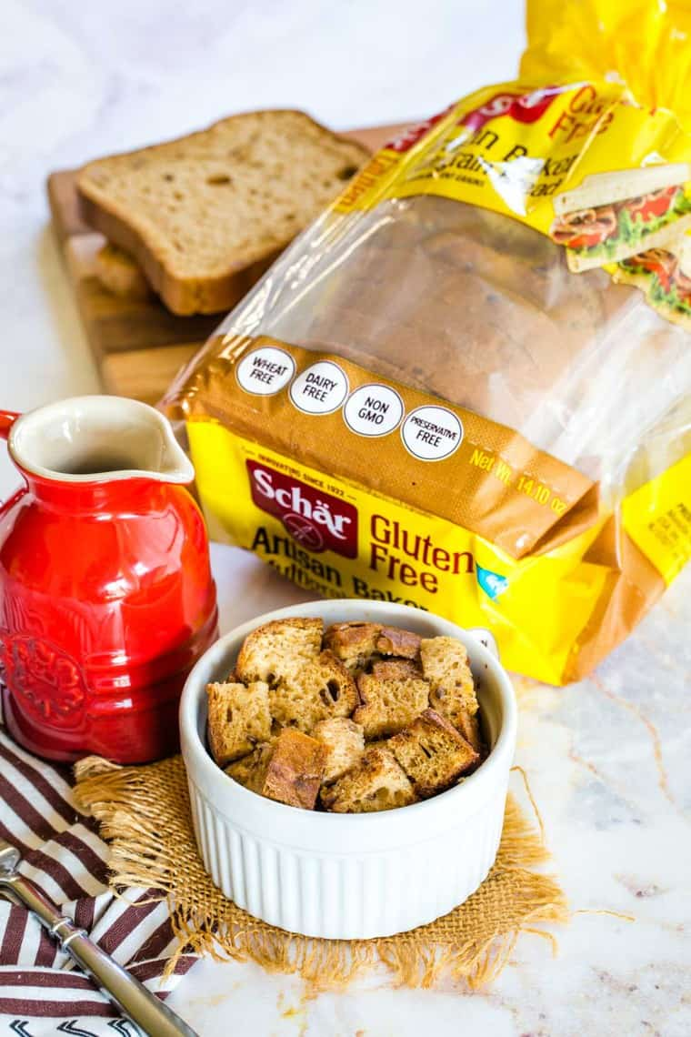 Schar Gluten Free Bread used to make Individual Overnight French Toast Casserole