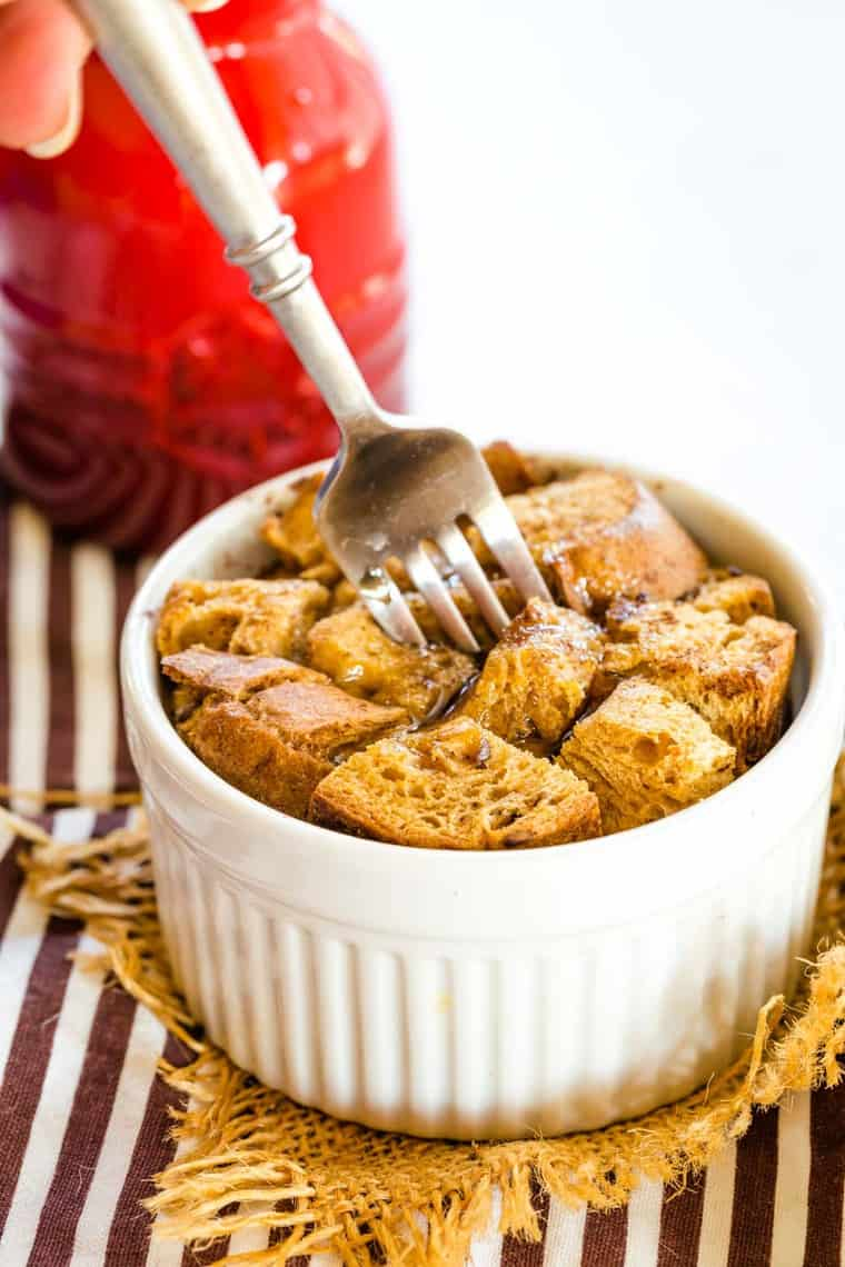 Overnight French Toast Casserole for One with a fork in it