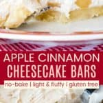 No Bake Apple Cheesecake Bars Pinterest Collage