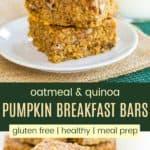 Gluten Free Pumpkin Oatmeal Breakfast Bars Pinterest Collage