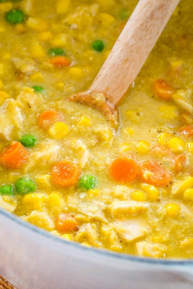 Closeup of Chicken and Corn Chowder Soup in a pot