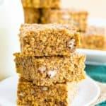 Gluten Free Pumpkin Oat Breakfast Bars Recipe