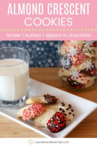 Almond Crescents Recipe Pin Template Pink