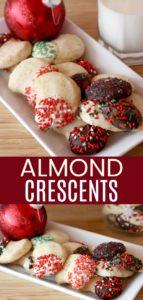 Almond Crescent Cookie Recipe Pinterest Collage