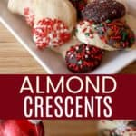 Almond Crescent Cookie Recipe Pinterest Collage
