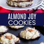 Four Ingredient Almond Joy Cookies Pinterest Collage