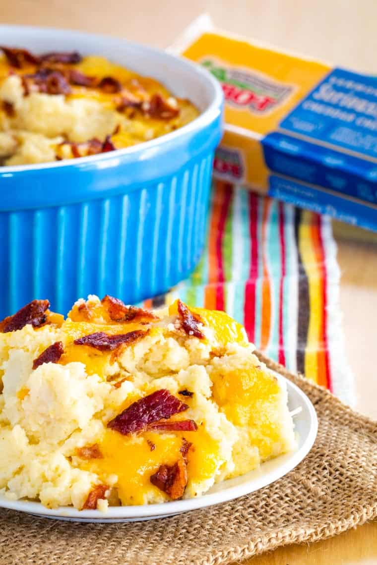 Low Carb Cheesy Mashed Cauliflower Bake made with Cabot Cheddar Cheese
