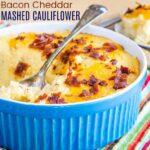 Cheesy Cauliflower Mashed Potatoes Recipe Image with Title