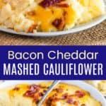 Keto Cheesy Mashed Cauliflower with Bacon Pinterest Collage