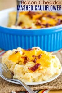 Low Carb Cheddar Bacon Cheesy Mashed Cauliflower Recipe Image with title
