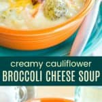 Keto Broccoli Cheese Soup Pinterest Collage