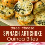 Spinach Artichoke Cheesy Quinoa Bites Pinterest Collage