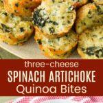 Spinach Artichoke Cheesy Quinoa Bites Pinterest Collage