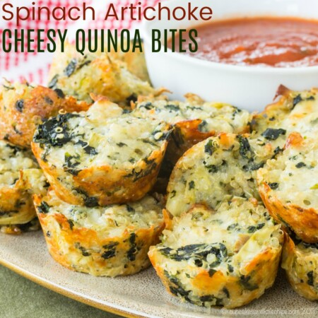 Cheesy Quinoa Spinach Artichoke Bites Recipe Featured Image