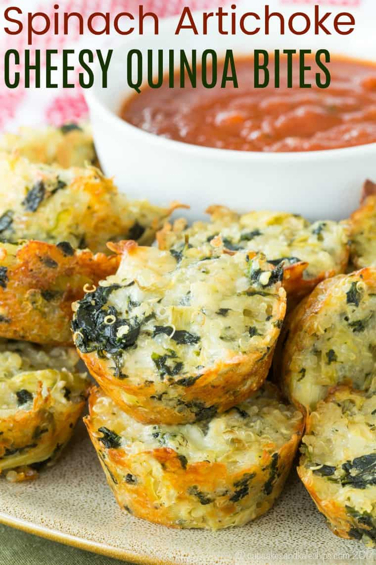 3-Cheese Spinach Artichoke Quinoa Bites Recipe Recipe Image with Title