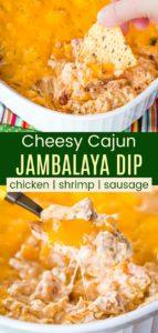 Low Carb Hot Jambalaya Dip Pinterest Collage