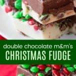 M&M's Chocolate Christmas Fudge Recipe Pinterest Collage