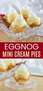 Mini Eggnog Cream Pies Pinterest Collage