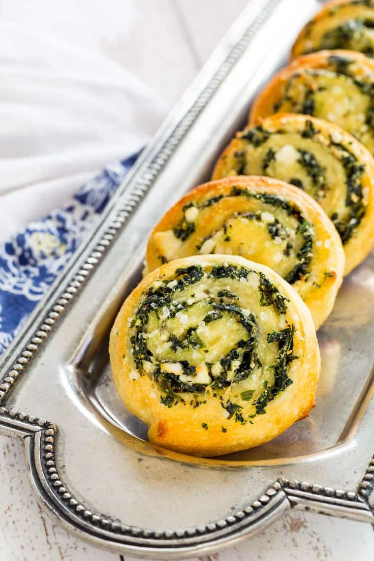 Serving plate of Low Carb Spinach Feta Pinwheels