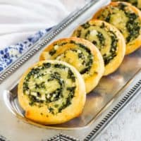 Platter with Low Carb Spinach Feta Pinwheel Appetizer Recipe