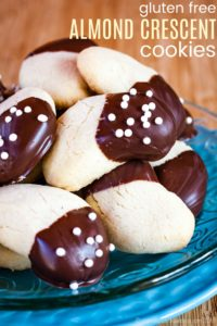 Chocolate-Dipped Gluten Free Almond Crescents Recipe Image with Title
