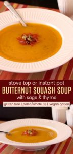 Stove Top or Instant Pot Butternut Squash Soup Pinterest Collage