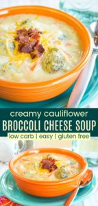Gluten Free Low Carb Broccoli Cheese Soup with Cauliflower Pinterest Collage