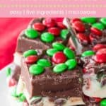 Holiday M&M's Fudge Recipe Pin Template Pink