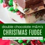 Christmas M&M's Fudge Recipe Pinterest Collage